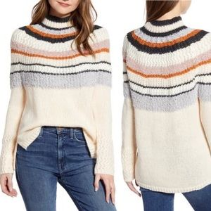 New Caslon Striped Mohair Blend Mock Neck Sweater